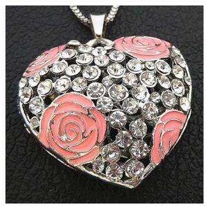 Pink Enamel Flower Silvertone Pendant